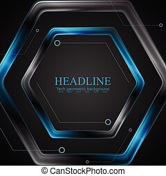 Black and blue metal hexagon tech drawing design