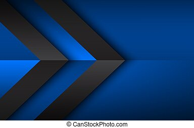 Black and blue overlayed arrows. Abstract modern vector background with place for your text. Material design. Abstract widescreen background