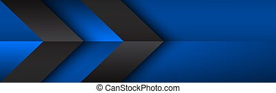 Black and blue overlayed arrows header. Abstract modern vector banner with place for your text. Material design. Abstract widescreen background