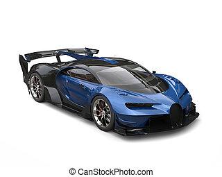 Black and blue race supercar - studio shot
