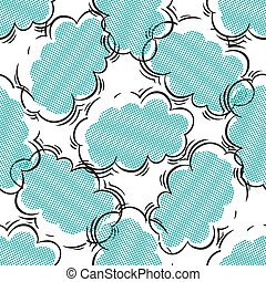 Black and blue seamless pattern with clouds, halftone style