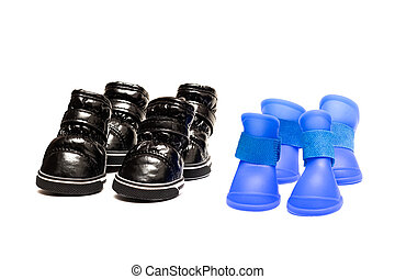 Black and blue shoes for dog isolated on white background