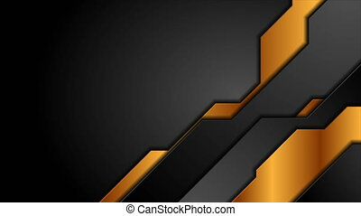 Black and bronze abstract technology motion background. Video animation Ultra HD 4K 3840x2160