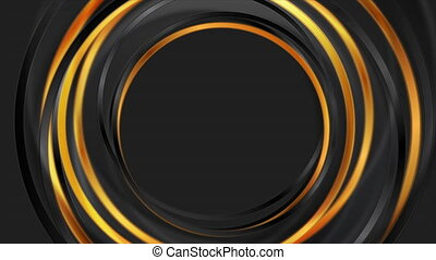 Black and bronze glossy circles abstract geometric motion background. Seamless looping. Video animation Ultra HD 4K 3840x2160