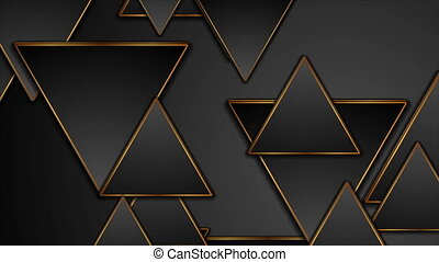 Black and bronze triangles abstract tech geometric motion design. Seamless looping. Video animation Ultra HD 4K 3840x2160