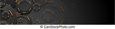 Black and glowing neon orange circles abstract background