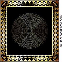 black and gold abstract cirles - dark background with golden...