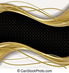 Black and gold background - Black background with gold rope.