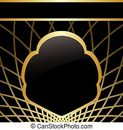 black and gold background with frame in center - vector