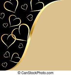 black and gold background with hearts