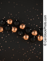 Black and gold christmas balls on dark gray background 3D illustration with copy space