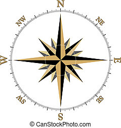 Black and Gold Compass illustration. (vector format)