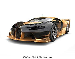 Black and gold modern supercar - studio shot