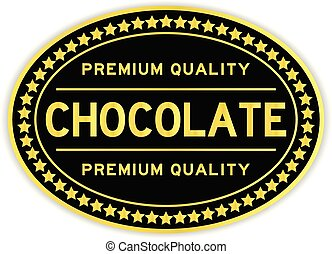 Black and gold premium quality chocolate oval seal sticker...