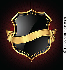 Black and gold shield and ribbon - Black shield with a...