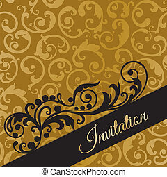 Black and gold swirls invitation