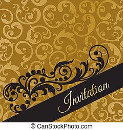 Black and gold swirls invitation