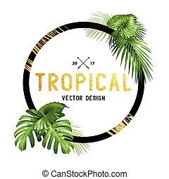 Black and Gold Tropical Frame