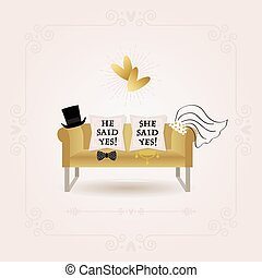 Black and golden abstract He Said Yes and She Said Yes wedding card