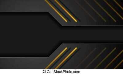 Black and golden abstract technical motion background - ...