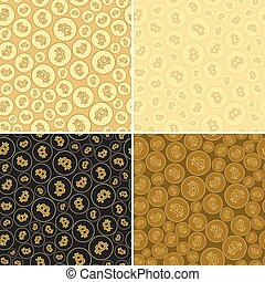 black and golden backgrounds with bitcoins - vector seamless patterns
