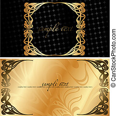 Black And Golden Cover Background. Vector Illustration.