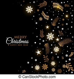 black and golden merry christmas decorative background