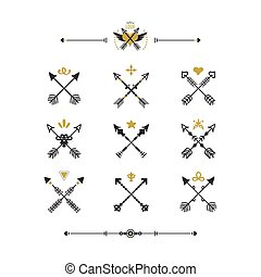 Black and golden modern retro hand drawn tribal crossed arrows icons set on white background