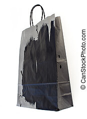 Black and gray paper shopping bag