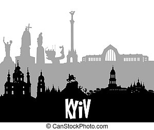 black and gray silhouette of Kyiv
