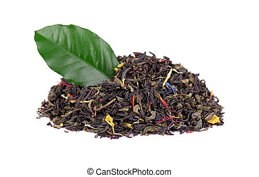 Black and green Ceylon tea with dry flowers - calendula, rose and cornflower petals, isolated on white background. Close up.