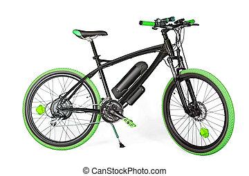 Black and green electric bike