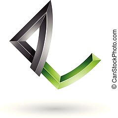 Black and Green Embossed Letter E with Bended Joints Vector Illustration