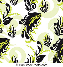 Black-and-green floral seamless - abstract black-and-green...