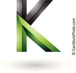 Black and Green Glossy 3d Geometrical Letter K Vector Illustration