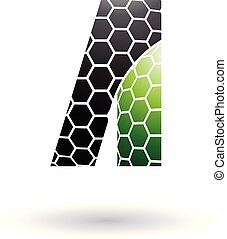 Black and Green Letter A with Honeycomb Pattern Vector Illustration