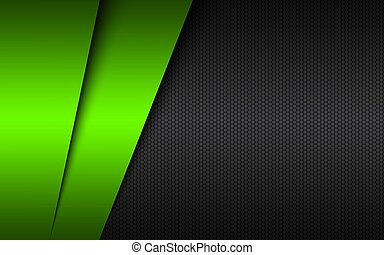 Black and green modern material design with a hexagonal mesh. Dark metal background. Template for your business. Vector abstract widescreen background