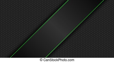 Black and green modern material design with polygon background, corporate template for your business, vector abstract widescreen background