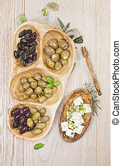 Black and green olives with feta c