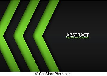 Black and green overlayed arrows, abstract modern vector background with place for your text