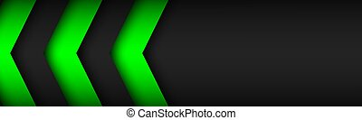 Black and green overlayed arrows. Abstract modern vector header with place for your text