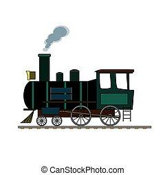 Black and green retro steam train on white background.