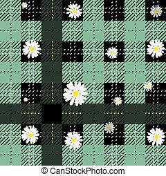 Black and green tartan plaid and daisy flowers pattern on checkered background for textile