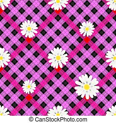 Black and green tartan plaid and daisy flowers pattern on checkered background for textile eps10