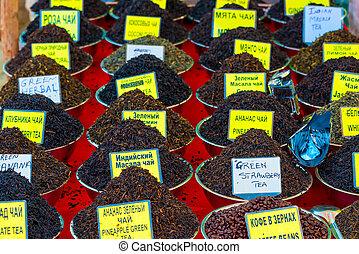 black and green tea on the eastern bazaar