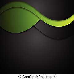 Black and green waves abstract background