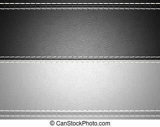 Black and grey horizontal stitched leather background. Large...