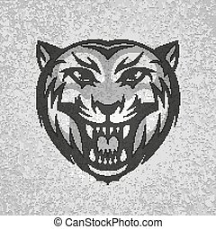 Black and grey tiger head logo on dirty plaster layers grunge splashes background