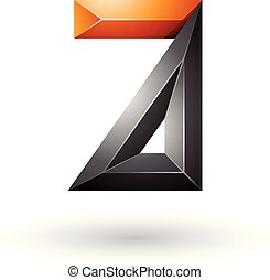 Black and Orange 3d Geometrical Embossed Letter A Vector Illustration