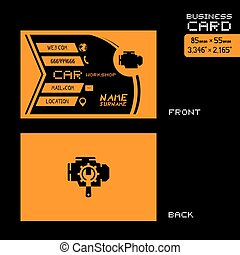 black and orange car workshop business card art